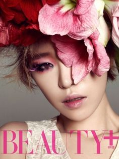 Brown Eyed Girls' Ga In in Beauty Plus November 2012 High Fashion Photography, Photography Women, Ga In, Colorful Eye Makeup, Subtle Makeup, Brown Eyed Girls, Beauty Magazine, Kpop, Flowers In Hair