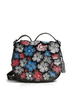 c29a69f837 COACH 1941 Tea Rose Appliqué Saddle Bag 23 in Leather Handbags -  Bloomingdale s