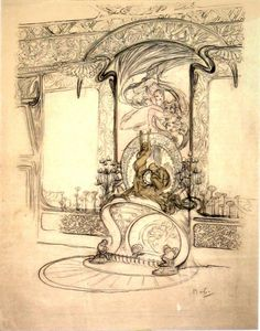 Alphonse Mucha, Interior of Boutique Fouquet: design for the fireplace with statuettes, mirror, and the ornamental details of the wall (c.1900)