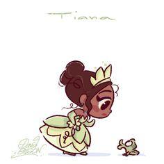 Chibies of Disney's Cinderella & Gus , Belle & Chip , Tiana & Naveen. https://www.facebook.com/artofdavidgilson/