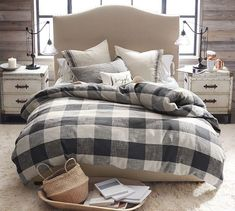 Need bedroom inspiration? Shop Pottery Barn for stylish bedroom furniture and decor. Create an warm and cozy bedroom oasis with quality bedding in classic styles and colors. Plaid Bedroom, Plaid Bedding, Bedding Master Bedroom, Cozy Bedroom, Home Decor Bedroom, Bedroom Ideas, Bedroom Furniture, Furniture Decor, Furniture Removal