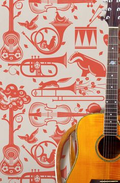 I am in love with this wallpaper - will be fab in Percy's room: Pet Sounds Wallpaper - Harvest Orange