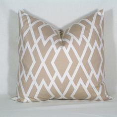 Custom 18x18 Pillow Cover - READY TO SHIP - Geometric - Tan and Cream. $40.00, via Etsy.