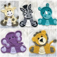 Crochet Pattern - INSTANT PDF DOWNLOAD - Zoo Animals - Crochet Zoo Animals - Crochet Patterns - Appliqué Patterns - Zebra - Elephant - Rhino