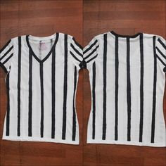 Inspired by this year's upcoming Super Bowl game, I decided to create this referee shirt tutorial. I have been seeing all of the recent Super Bowl ads featuring the fabulous Beyonce, and well, I wanna. Sports Costumes Halloween, Diy Costumes, Halloween 2016, Costume Ideas, Referee Costume, Spring Carnival, Fun Party Games, Shirt Tutorial, Carnival