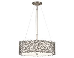 """Inspired by natural coral, this 3 light convertible pendant / semi-flush light from the Silver Coral Collection evokes a natural feeling while providing endless and fascinating features. Delicate details are infused with a unique contemporary yet soft design. Above the Kitchen table.  18.25"""" Wide. Kichler Silver Coral Collection. (3) 100W bulbs"""