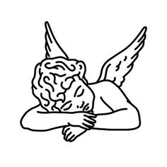 Pesar Tattoo - Semi-Permanent Tattoos by inkbox™ Kritzelei Tattoo, Cupid Tattoo, Cherub Tattoo, Psalm Tattoo, Poke Tattoo, Art Drawings Sketches, Tattoo Sketches, Easy Drawings, Angel Tattoo Drawings