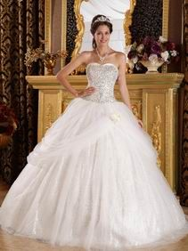 Fit and Flare Sweetheart Sequined Skirt Floor Length White Quinceanera Dress