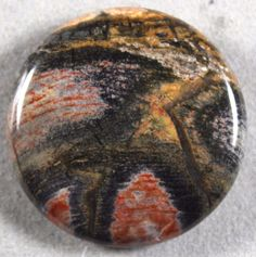 BLACK SILVER LEAF AGATE PETRIFIED WOOD 30MM COIN FOCAL BEAD - DROP DRILLED (134)