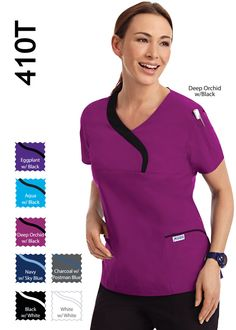 Ladies Sculpted Scrub Top Soft, sculpted scrub top with a contrast wave neckline. This scrub top also has two lower pockets, one chest pocket and one shoulder pen pocket Scrub Tops, Scrubs, Sculpting, Wave, Contrast, Long Sleeve Tees, One Shoulder, Neckline, Pockets