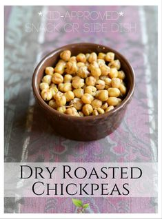 Dry Roasted Chickpeas Recipe - Great as a snack or side dish AND these are totally kid-approved! Recipe on Scratch Mommy