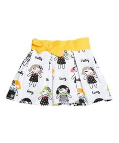 Look at this #zulilyfind! White & Yellow Doll Skirt - Infant, Toddler & Girls by Lourdes #zulilyfinds