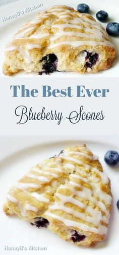 Buttery, sweet, and delicious Blueberry Scones have a flaky inside and crispy outside. Bursting with blueberries and a perfect morning breakfast!