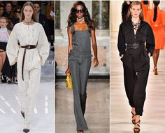 Jumpsuits From fighter pilots to technicians, this season, designers took inspiration from the world of industry, to create fashion-forward utilitarian looks. At Dior, Pucci and Ralph Lauren all-in-ones and jumpsuits were given a couture edge with accessories such as leather belts, scarves and statement jewelry, as well as extra long zips and straps with oversized buttons. Swapping the warehouse for an art gallery the jumpsuit is the uniform for the chic and sophisticated this season.