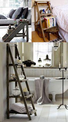 Escada Criado mudo e estante: a gente já viu aqui que a escada baixa pode servir como um criado mudo. E a escada pode ainda virar uma charmosa estante no banheiro.
