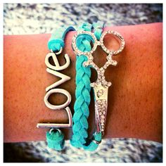 Adorable & Trendy Hair Stylist Bracelet with love and rhinestone scissor charms. Adjustable to fit most sizes :)