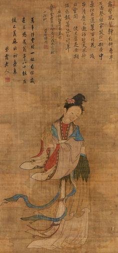 중국 청나라, 전체세로 159.2cm, 전체가로 74.8cm, 세로(화면) 99.0cm, 가로(화면) 46.8cm Painting, Art