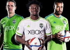 The new Adidas Seattle Sounders FC 2015 Home Kit is rave green with navy design elements. The new Seattle Sounders 2015 Away Jersey features a unique pinstripes design. Pinstriping Designs, Seattle Sounders, Home And Away, Soccer, Football, Navy, American, Adidas, Sports