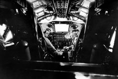 """A December 1957spread in the Times magazine gave a glimpse of life at the headquarters of the Strategic Air Command in Omaha, where B-52 crews were on """"continuous alert."""" Here, Capt. W. H. Roberts and Lt. A. H. Hecker sat ready for takeoff in their $8 million plane (figure not adjusted for inflation). Photo: Sam Falk/The New York Times Can you say Dr Strangelove"""