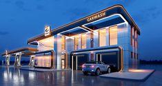 GLUSCO - concept of a gas station on Behance Car Station, Oil Refinery, Filling Station, Designer Pumps, Shopping Malls, Signage Design, Street Signs, Concert Hall, Commercial Design
