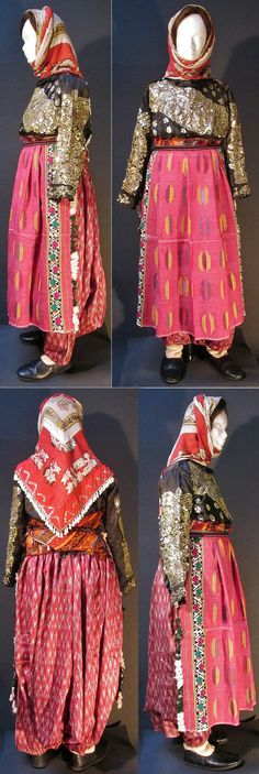 A traditional festive costume from the Sandıklı district (Afyon province).  Style of 1950-1975. The black shirt is adorned with metal sequins and 'tel kırma' embroidery (motives obtained by sticking narrow metallic strips through the fabric and folding them).  (Kavak Costume Collection-Antwerpen/Belgium).