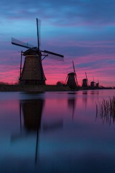 Right before sunrise - Kinderdijk, the Netherlands (by Hans Brongers on 500px)