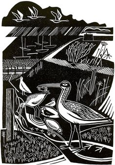 Winter Estuary - Linocut by Clare Curtis