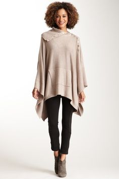 Ribbed Funnel Neck Poncho by Love Stitch on @HauteLook