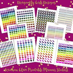 NEW!!!! DIY Rainbow Glam Printable Planner Stickers Monthly Kit 820 Stickers 10 page pdf and 10 jpeg Erin Condren Planner Kikkik Filofax