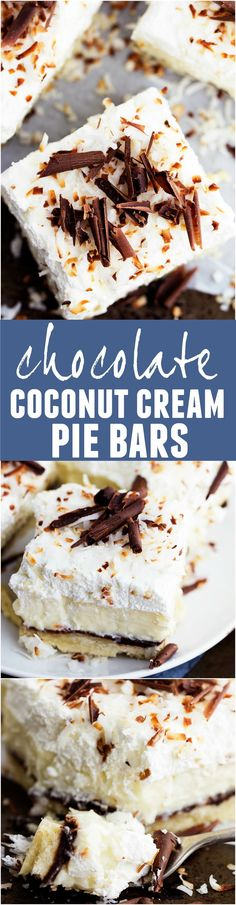 These Chocolate Coconut Cream Pie Bars will be one of the best desserts you ever make!