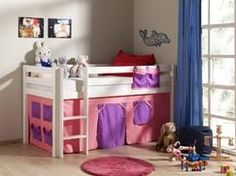 Dětská postel z masivu s látkovým domečkem Bunk Beds, Loft, Furniture, Home Decor, Bella, Products, Bedrooms, Girly, Pine