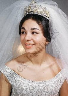 Farah Diba wearing the Noor-ol-Ain Tiara at her wedding to Mohammed Reza Pahlavi, Shah of Iran in 1959.