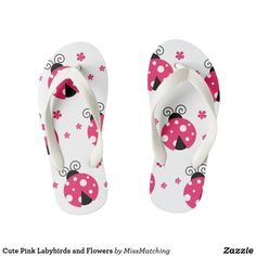 3496d8d2dd7148 Cute Pink Labybirds and Flowers Kid s Flip Flops Flipping