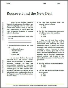Roosevelt and the New Deal - Reading Worksheet | Free to print (PDF file). For high school American History.