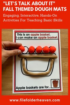 These Fall Themed Play Dough Mats focus on identifying fall themed objects and their features and/or functions. Students identify the fall themed object shown, make it out of play dough and talk about it, by answering the prompt at the bottom of each mat, and any additional prompts that the teacher and/or therapist would like to use. Early Learning Activities, Apple Activities, Motor Activities, Autumn Activities, Hands On Activities, Classroom Activities, Apple Baskets, Activity Mat, 1st Grade Worksheets