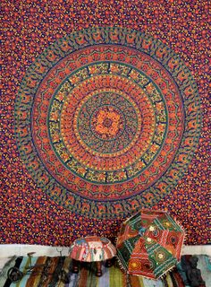 Indian wall hanging 100 cotton tapestry bed cover by Kanthaastuff