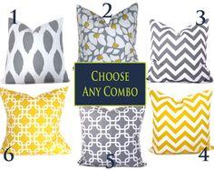 Pillow Set of TWO 18x18 Decorative Throw Pillows Grey Yellow 18 x 18 Chevron Throw Pillow Covers  printed fabric on both sides via Etsy