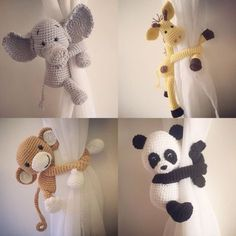These animal curtain tie backs are super cute! Hand crocheted by myself they will add a smile to any room. Also a great baby shower and welcome to the world gift. Animals range from 17cm - 19cm height when seated and arm length is around 20cm long. This listing is for one animal tie back. Mix and match for a lovely window treatment.  All animals look straight forward, either looking over the left shoulder or looking over the right shoulder.  Please choose animal looking over the left or the…