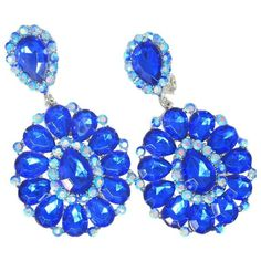 Preowned Dramatic Faux Sapphire Blue Flower Drop Clip Earri ($155) ❤ liked on Polyvore featuring jewelry, earrings, blue, clip on earrings, pre owned jewelry, blue earrings, sapphire jewelry and flower jewellery