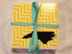 Set of 4 Appalachian State University Black & Gold Coasters on Etsy, $10.00