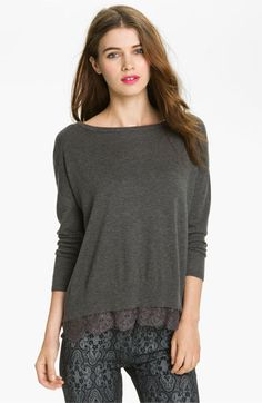 Joie 'Hilano' Lace Trim Sweater available at #Nordstrom