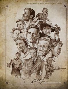 """Errol Flynn,illustration from the book """"Hombres de Hollywood"""".Nacho Castro.Diábolo ediciones. #ErrolFlynn (Forever Flynn)"""