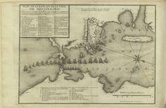 """D.S. XVIII – 159 – René DUGUAY-TROUIN  (1673 – 1736) «Plan de la baye de la ville de Rio Janeiro située par les 23 degrez de latitude sud… par Mr. Duguay Trouin, et armée par les particuliers de St. Malo en 1711». Gravura ; matriz: 23,5x31,5 cm, em folha de 24x36,5 cm. In: """"Memoires de Monsieur Du Guay-Trouin…"""". A Amsterdam : chez Pierre Mortier, 1740, entre p. 166 e 167. Cota BNP D.S. XVIII – 159"""