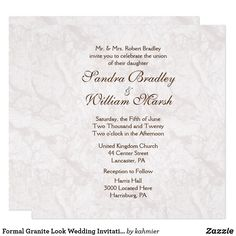 Formal Granite Look Wedding Invitation