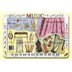 Musical Instruments Placemat, (educational placemat, placemat, world map placemat, education, learning placemat, world map, nonfiction, learning, place mats, body)