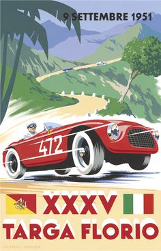PEL211: '1951 Targa Florio' by Charles Avalon - Vintage car posters - Art Deco…