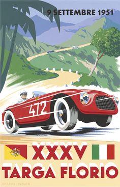 PEL211: '1951 Targa Florio' by Charles Avalon - Vintage car posters - Art Deco - Pullman Editions - Ferrari