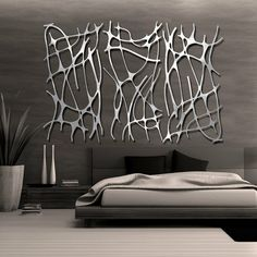 ♂ Contemporary interior design bedroom with modern metal looking abstract wall deco