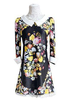 Elegant Flower Printing Dress OASAP.com $91.20