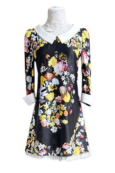 Elegant Flower Printing Dress OASAP.com $91.20